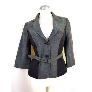 The Limited Size S Belted Blazer Blue Black